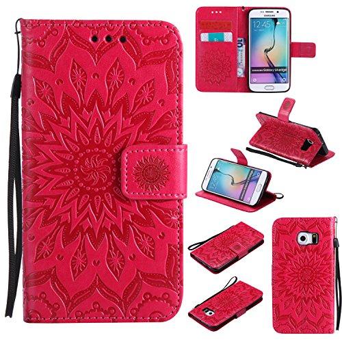 Hülle für Galaxy S6 Edge Hülle Handyhülle [Standfunktion] [Kartenfach] [Magnetverschluss] Tasche Flip Case Cover Etui Schutzhülle lederhülle klapphülle für Samsung Galaxy S6Edge/G925F - DEKT030734 Rot