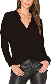 Women's Long Sleeves V Neck Chiffon Blouses Work Casual Loose Fit Tops Shirts