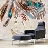 No tejido papel tapiz murales Plumas De Colores Lámina - Poster Picture Photo murales No Tejido Fotomurales Decoración de Pared decorativos Murales moderna ,W350xH256CM