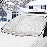 GAMURRY Car Windshield Snow Ice Cover, Windshield Covers with 4 Layers of Protection and Magnetic Edges, Anti-Snow/Anti-Ice/Anti-Fog Thickened Snow Cover for Car, Suitable for Most Cars
