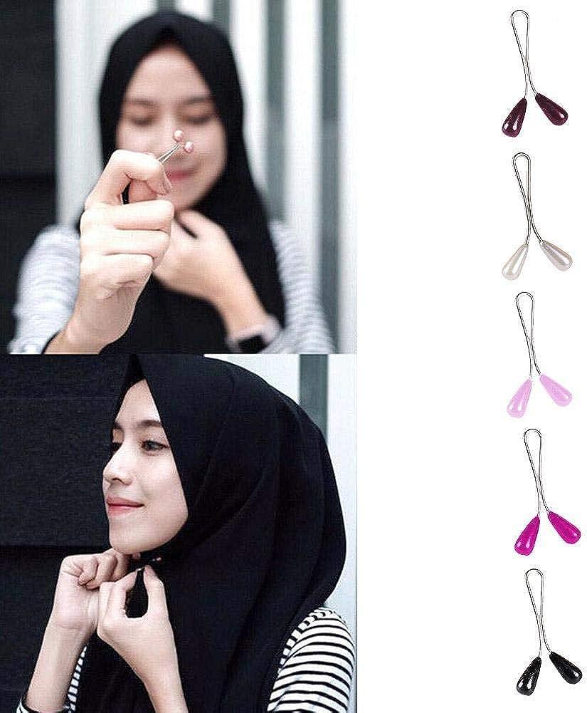 12 St/ücke Perle Clip Schal Pin Kopftuch Schal Schal Zubeh/ör Dame Muslim Schal Sicherheit Clips Teardrop Perle Muslim Brosche Hijab Schal Pin Damen Hochzeit Pin