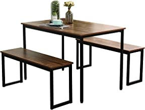 Kitchen Room Rustic Brown S7-CZJYB-yzld01-CA Restaurant for Breakfast in Living Room Dining Room SDHYL 44.9 inches Wood Dining Table Set with 2 Bench Chairs // 3 Piece Set