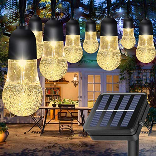 Outdoor Solar String Light with Crystal Filament Bulb, 21ft 30 LED Solar Powered Bulb String Fairy Lights IP65 Waterproof for Home Garden Patio Backyard Party Wedding Christmas