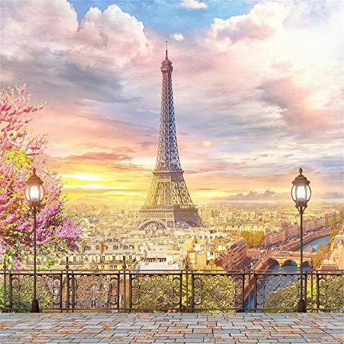 EdCott 7x7ft Eiffelturm Hintergrund Party Paris Thema Hochzeitsdekorationen Stadt Landschaft Balkon Blick Straßenlandschaft Fotografie Terrasse Luft Veranda Mädchen Newlyweds Photo Studio Requisiten