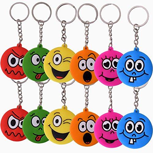 TE-Trend 12 Stück Schlüsselanhänger Anhänger Set Smile Emoji Gesicht Emojicon Deko Kette Ring Keychain Geburtstag Mitgebsel