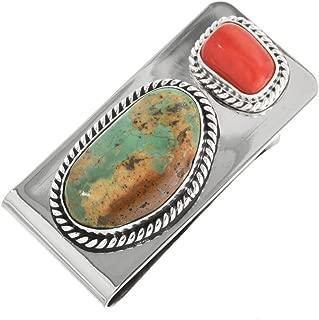 Turquoise Coral Silver Money Clip Navajo Twist Wire Design 0089