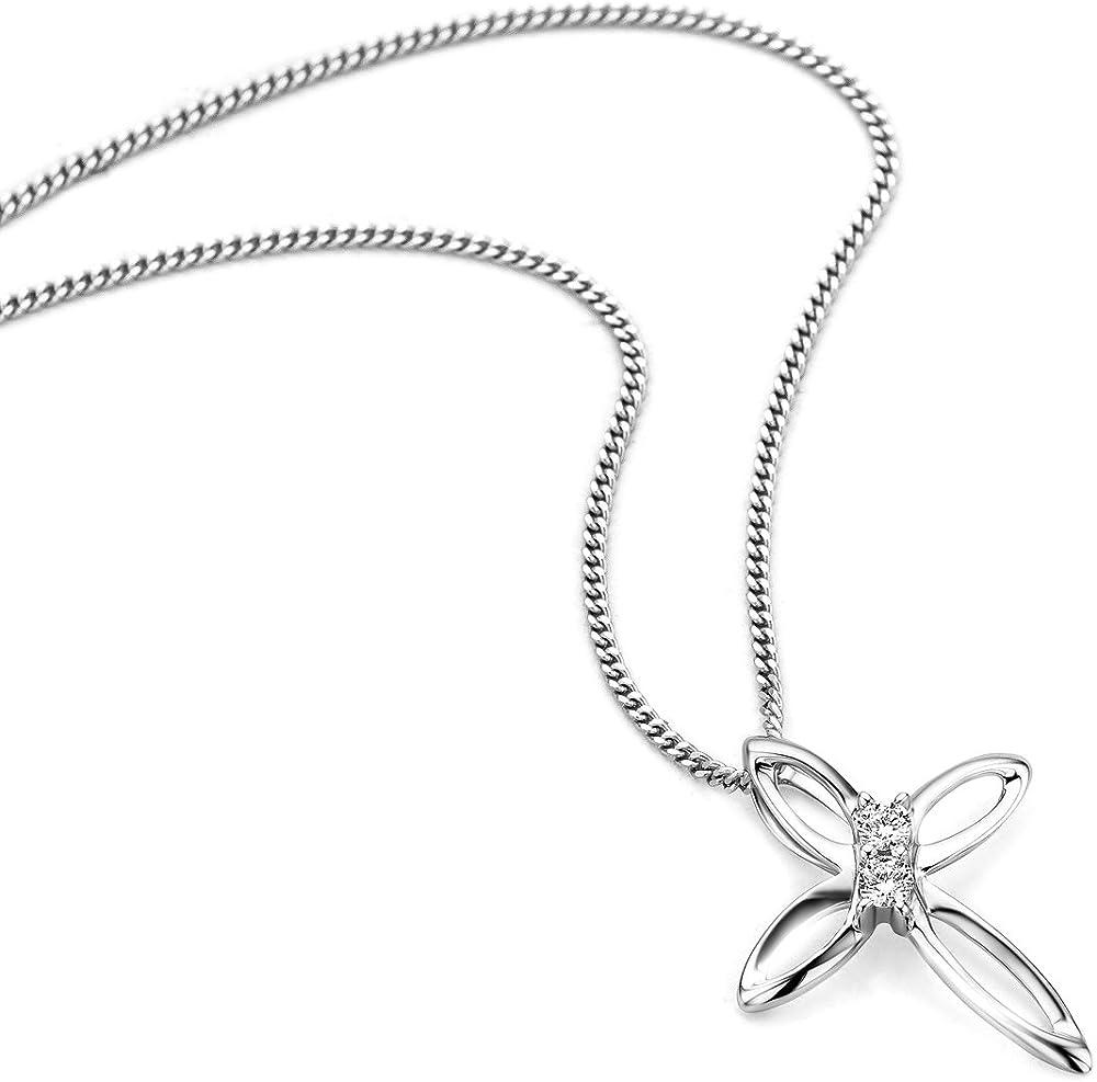 Orovi collana per donna in oro 9 kt / 375 (1,54 g)con ciondolo a croce e diamante taglio brillante 0,05ct OR8994N
