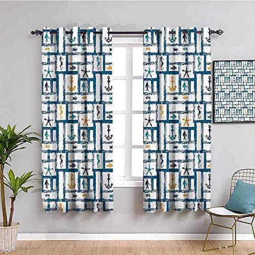 Azbza Cortinas Opacas Salón - Moderno minimalista azul gráfico. - 90% Opacas Proteccion Intimidad - W280 x H290 cm - Salón Dormitorio Cortina Gruesa y Suave para Oficina Moderna Decorativa Cortinas