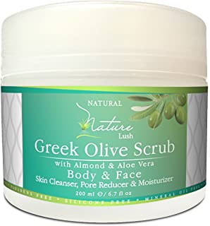 Best Natural & Organic Greek Body Scrub - Almond, Olive Grains & Aloe Vera – Exfoliating Skin, Pore Reducer & Cleanser. Detoxifying, Hydrating & Ultra Moisturizing Formula 6.7oz