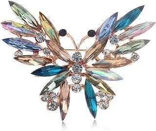 yichahu Broche de mariposa grande de lujo con cristales para mujer, fiesta, banquete, diamantes de imitación, accesorios d...