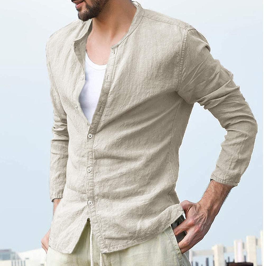 Men's Long Sleeve Shirt Casual Linen Button Collar Cardigan Beach Loose Shirt
