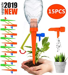 HUG GREEN 【2019 New】 15Pcs Plant Watering Spikes Self Watering Devices with Slow Release Control Valve Switch Automatic Irrigation Watering Drip for Outdoor Indoor Potted Plants Flower Vegetables