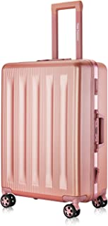 """Carry-On Foveate Hardside Aluminum Frame Luggage, 20"""" Suitcase with Great Intensity, Scratch-Resistant, Easy for Both of Pleasant and Business Trip, Equipped with Two Locks, Rose Gold"""