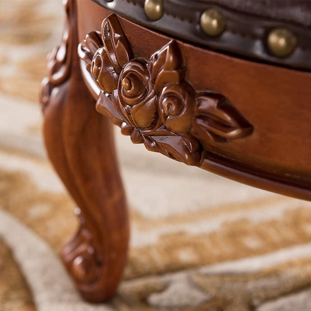 MWPO Tabouret de Repose-Pieds en Faux Cuir sculpté Vintage avec Bouton 4-Jambe sculptée décor européen canapé Table Basse Tabouret, Repose-Pieds Rond rembourré Bleu Creamy-white
