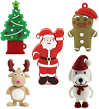 5 Pack 32GB USB 2.0 Bulk Flash Drives Novelty Cute Thumb Drive Jump Drive Memory Stick Pendrive Zip Drive (Christmas Tree,Deer,Santa Claus,Cartoon Character,Dog)