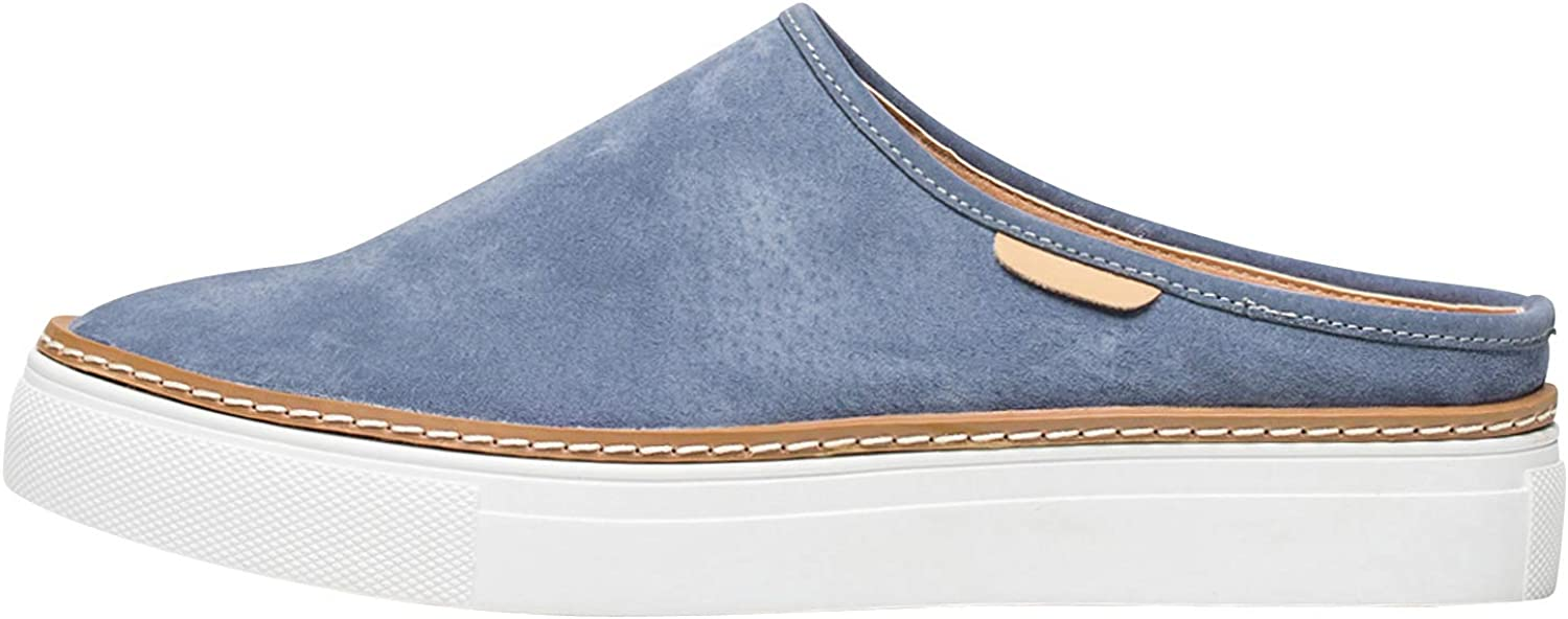 AnnaKastle Womens Suede Leather Backless Slip On Sneakers