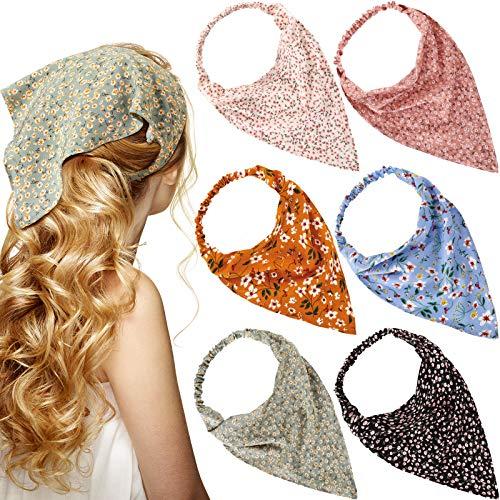 6 Pieces Floral Elastic Hair Scarf Headband Chiffon Head Kerchief Elastic Floral Printed Turban Boho Headbands Hair Bandanas with Hair Clips for Women Girls Hair Accessories (Classic Floral Patterns)