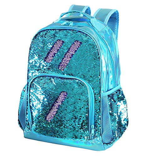 Holographic Kids Backpack Mermaid Sequin School Backpack for Little Girls Elementary Princess Glitter Bookbags(Teal)