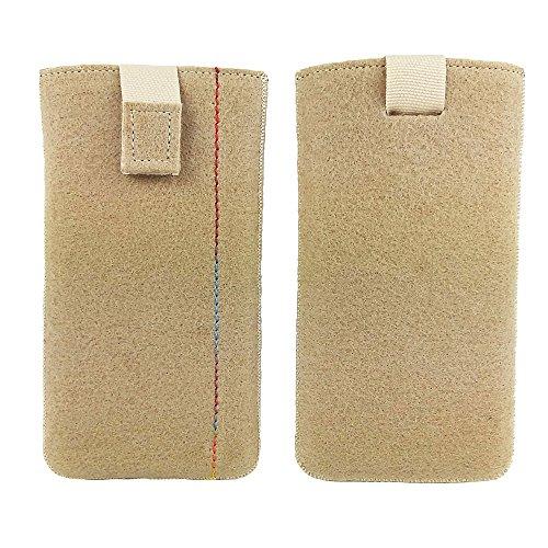 handy-point 5,0'' Filztasche Tasche Hülle aus Filz für Samsung, iPhone, Sony, Lenovo Moto, Huawei, Alcatel, Gigaset, Medion, Neffos, Geräte mit Max.14,2x7,3xx1cm (Cappuccino)