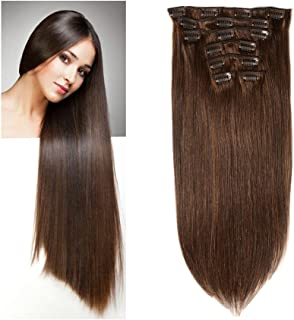 Lovbite Hair 18 Inch Clip in Hair Extensions Straight Human Hair Double Weft Brazilian Virgin Hair Clips on 8A Grade 7Pieces/Lot 100g 16Clips(18