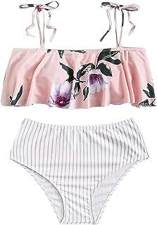 Top Homie レディース ファッション かわいい 花柄 ストライプ チェック柄 タンキニ ビキニ 女性 女の子 カバーアップ フリル ふわふわ 水着