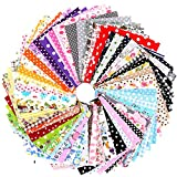 Konsait 100pcs Floral Cotton Fabric Patchwork, 4' x 4' (10cm x 10cm) Quilting Sewing Craft Fabric Bundles, Fat Squares Patchwork for DIY Sewing Decorative Fabric for Upholstery and Home Accents
