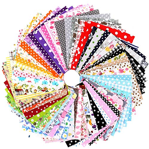 """Konsait 100pcs Floral Cotton Fabric Patchwork, 4"""" x 4"""" (10cm x 10cm) Quilting Sewing Craft Fabric Bundles, Fat Squares Patchwork for DIY Sewing Decorative Fabric for Upholstery and Home Accents"""