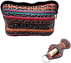 Rainbow Leopard Bag Large Waterproof Soft Neoprene Zipper Travel Portable Toiletry Makeup Organizer Case With Lip Balm Chapstick Holder Keychain …