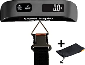 Travel Inspira Digital Luggage Scales with Overweight Alert White Backlight LCD Display 110LB / 50KG - Black