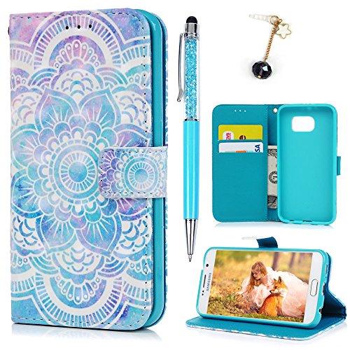 Lanveni Compatible with Samsung Galaxy S6 Hülle,Handyhülle S6 Flip Case Cover PU Lederhülle Schutzhülle Magnetverschluss Ledertasche mit Stander Function Brieftasche Tasche mit Totem-Blume