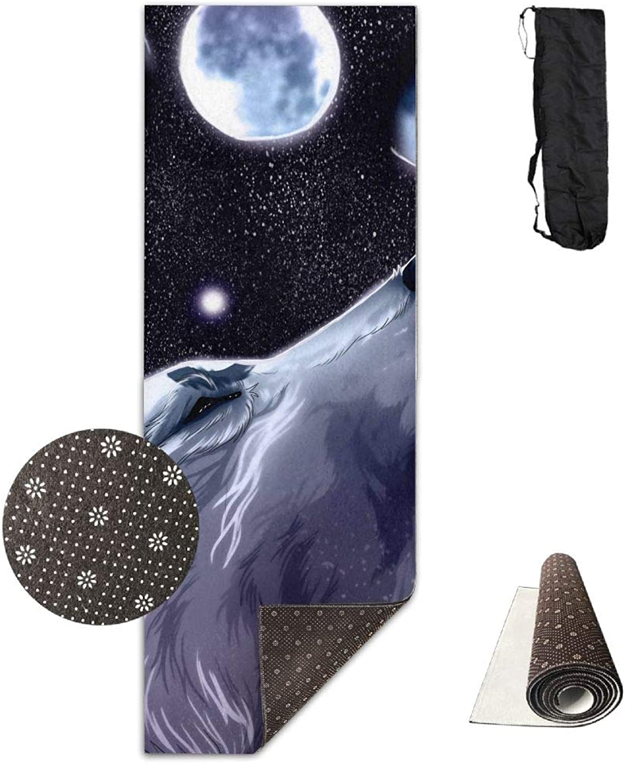 Yoga Mat Non Slip 24  X 71  Exercise Mats Howling Wolf Premium Fitness Pilates Carrying Strap