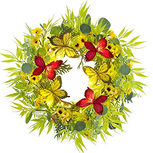 Twinkle Star 18 Inch Pre-lit Eucalyptus Wreath with Daisy Flowers & Butterfly, Lighted Artificial Leaves Front Door Wreath Spring Greenery Garland, Warm White 20 LED Light & Timer, Wall Hanging Decor