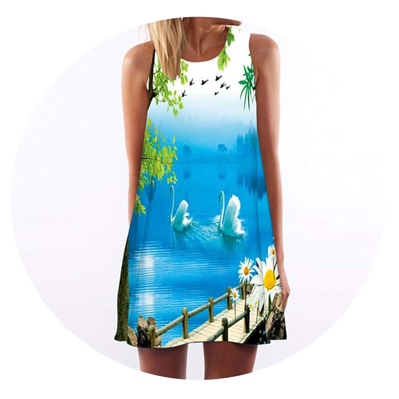 Women Floral Print Chiffon Dress Sleeveless Sundress Casual Shift Dresses