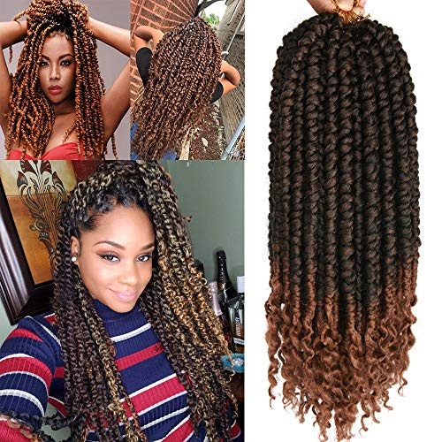 8 pcs/Pack Ombre Crochet Curly Wave Senegalese Twist Hair Extension For Women 12 Roots/Pcs Synthetic Fluffy 16 Inch Spring Twist Crochet Braiding Hair (1B/30#(16inch))