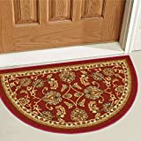 Non-Skid / Slip Rubber Back Antibacterial 18' x 31' Slice Door Mat Hearth Rug Timeless Oriental Red Traditional Classic Sarouk Thin Low Pile Machine Washable Indoor Outdoor Kitchen Hallway Entry