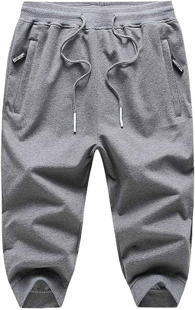yuyangdpb Men's Shorts Cotton 3/4 Jogger Capri Pants Casual Drawstring Zipper Pockets