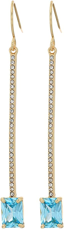 LAUREN Ralph Lauren - Linear Pave Bar with Emerald-Cut Stone Drop Earrings