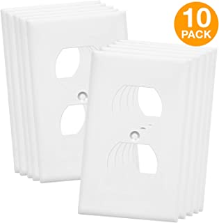 Enerlites 8821M-W-10PCS Duplex Outlet Wall Plate, 1-4 Gang, Midsize, Unbreakable Polycarbonate, White (Pack of 10)
