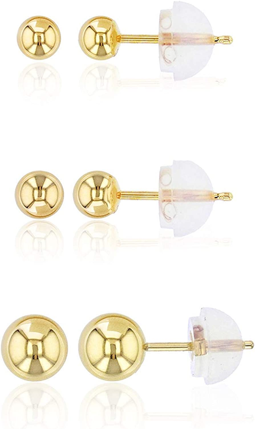 Solid 14K Yellow Under blast sales Gold 3 Pack Set Ball shipfree 5mm Stud 4 Polished Earr