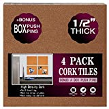 Cork Board Tiles 12'x12' - 1/2' Thick - a Box Bonus Push Pins - Ultra Strong Self Adhesive Backing - 4 Pack Cork Tiles - Bulletin Board - Mini Wall (4pack)