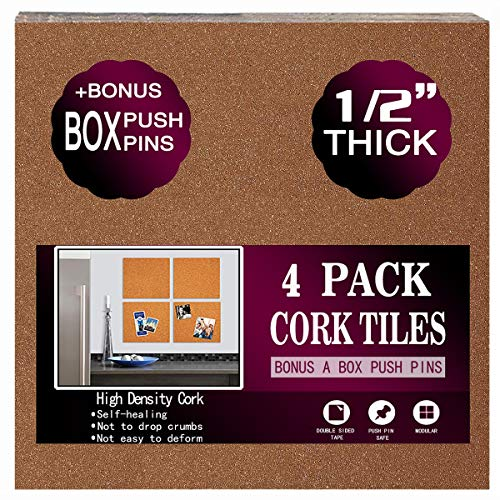 Cork Board Tiles 12'x12' - 1/2' Thick - a Box Bonus Push...