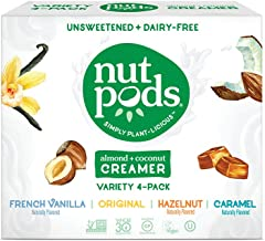product image for nutpods Variety Pack, (4-Pack), Original, French Vanilla, Hazelnut and Caramel, Unsweetened Dairy-Free Creamer, Made from Almonds and Coconuts, Whole30, Gluten Free, Non-GMO, Vegan, Kosher