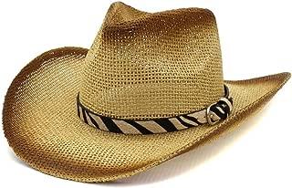 Bin Zhang Women's Men's Western Cowboy Straw Sun Hat Outdoor Seaside Sun Visor Stripe Decorative Leather Belt Beach Hat