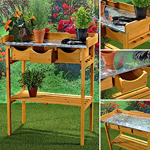 Melko Gartenarbeitstisch Gartentisch Pflanzentisch mit DREI Schubladen im Landhausstil aus Fichtenholz für den Außenbereich, 80 x 40 x 82 cm,...