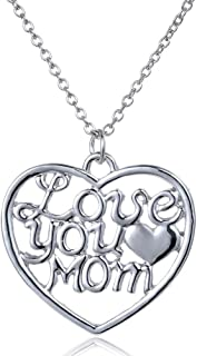 Gifts for Mom Women Love You Mom Heart Pendant Necklace Mom Gifts Charm Fashion Chain Necklace Gifts for Mom from Son Daugter Mother's Day Gifts