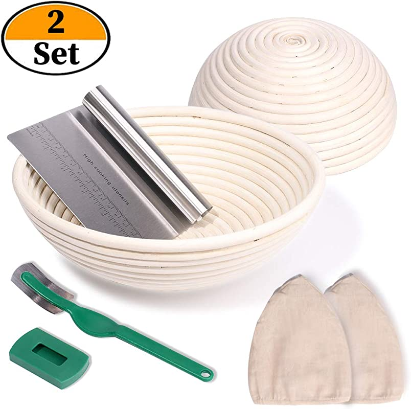 2 Set 9 Inch And 10 Inch Banneton Proofing Baskets Bread Proofing Basket Bread Lame Dough Scraper Linen Liner Cloth For Professional Home Bakers