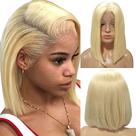 Amazon Com 613 Blonde Wigs Short Bob Lace Front Wigs Human Hair For Black Women Silky Straight 13x4 Lace Wigs 12 Pre Plucked Hairline Full Ends Slightly Bleached Knots Beauty