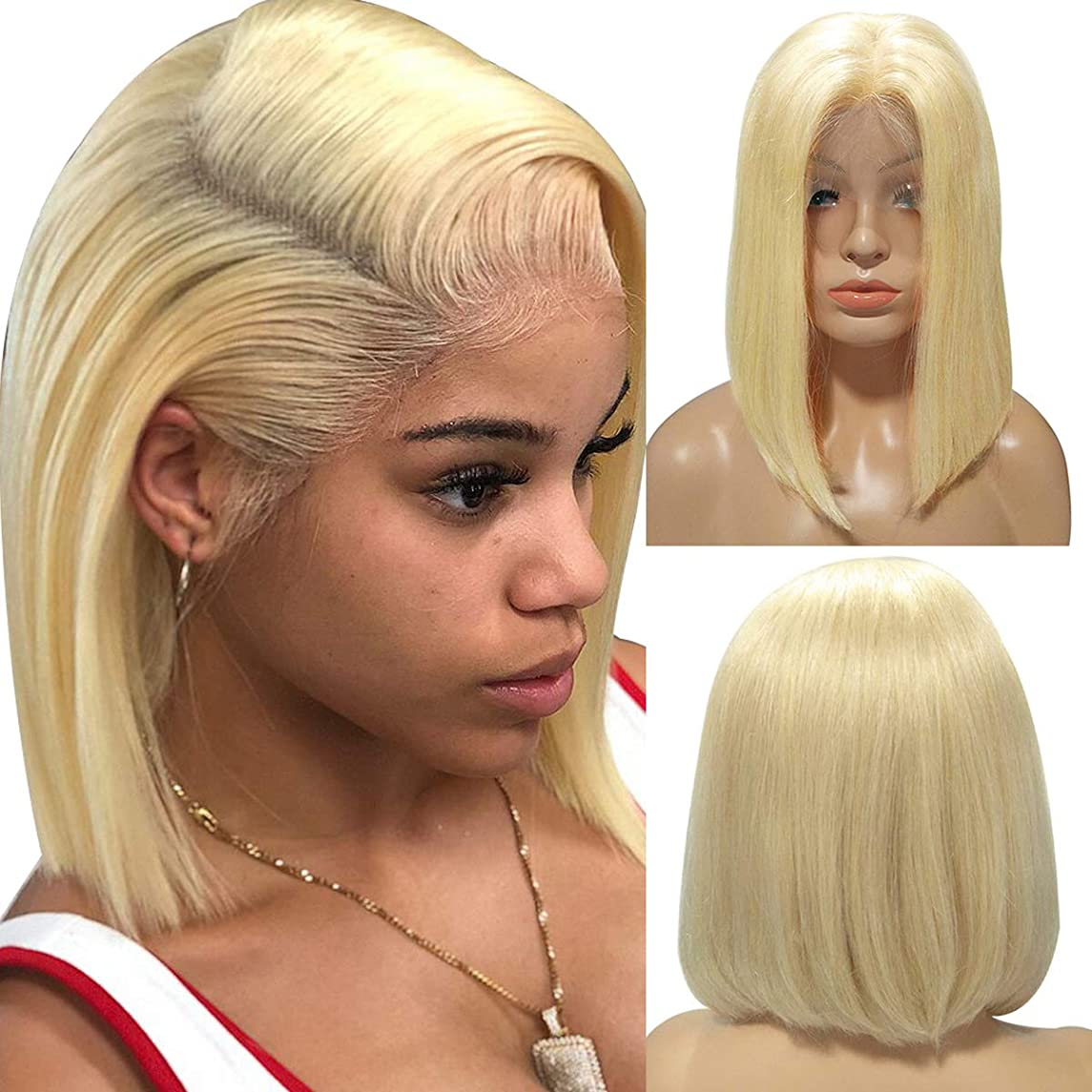 Human Hair Blonde Lace Front Wig Frontal Melting 613 Short Bob Lace Wigs Bleached Knots Brazilian Straight 13x4 Lace Wigs for Black Women 150% Density Pre Plucked 12