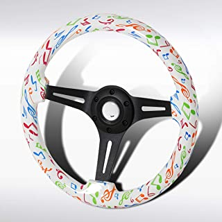 Autozensation Universal 350mm Colorful Music Notes Black 3-Spoke Racing Wooden Steering Wheel
