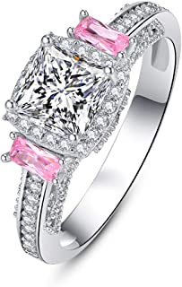 AVECON 925 Sterling Silver Created Pink Mystic Topaz Women's Engagement Ring Princess Cut Filled Wide Bands Women's Solita...